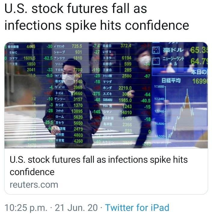 U.S. stock futures - tweet from Reuters